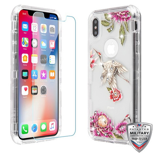 MyBat TUFF Lucid Plus Hybrid Protector Cover (Tempered Glass Screen Protector)[Military-Grade Certified] for Apple iPhone XS/X - Transparent Clear / Crane Diamante