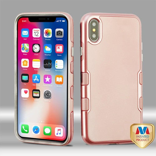 MyBat TUFF Panoview Hybrid Protector Cover for Apple iPhone XS/X - Metallic Rose Gold / Rubberized Rose Gold