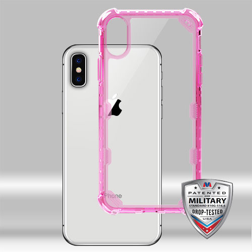 MyBat FreeStyle Challenger Lite Hybrid Protector Cover [Military-Grade Certified] for Apple iPhone XS/X - Transparent Clear / Transparent Hot Pink