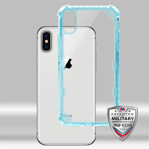 MyBat FreeStyle Challenger Lite Hybrid Protector Cover [Military-Grade Certified] for Apple iPhone XS/X - Transparent Clear / Transparent Baby Blue