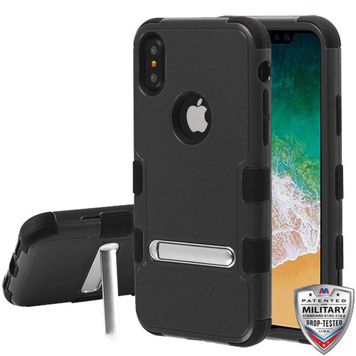 MyBat TUFF Hybrid Protector Cover (with Magnetic Metal Stand)[Military-Grade Certified] for Apple iPhone XS/X - Natural Black / Black