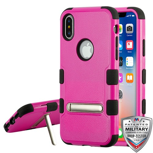 MyBat TUFF Hybrid Protector Cover (with Magnetic Metal Stand)[Military-Grade Certified] for Apple iPhone XS/X - Natural Hot Pink / Black(with Package)