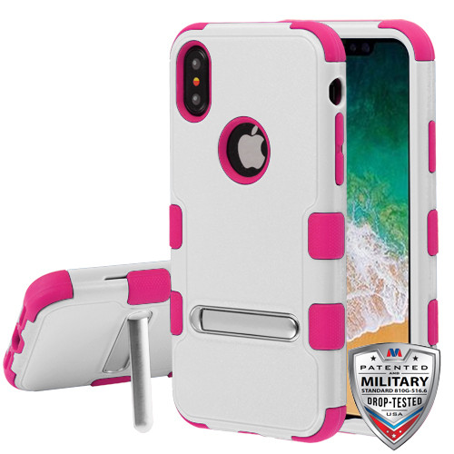 MyBat TUFF Hybrid Protector Cover (with Magnetic Metal Stand)[Military-Grade Certified] for Apple iPhone XS/X - Natural Cream White / Hot Pink