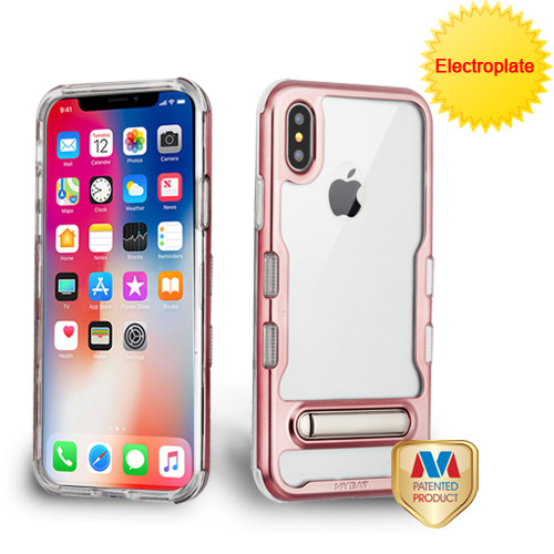 MyBat TUFF Panoview Hybrid Protector Cover (with Magnetic Metal Stand) for Apple iPhone XS/X - Electroplated Rose Gold / Transparent Clear