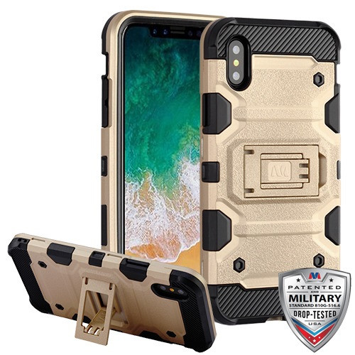MyBat Storm Tank Hybrid Protector Cover [Military-Grade Certified] for Apple iPhone XS/X - Gold / Black