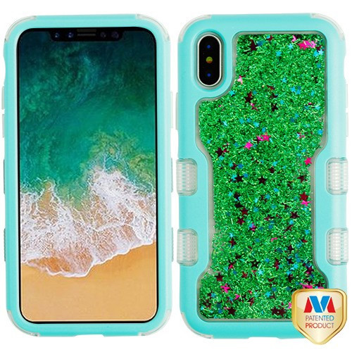 MyBat TUFF Quicksand Glitter Hybrid Protector Cover for Apple iPhone XS/X - Natural Teal Green / Green Sparkles Liquid Flowing