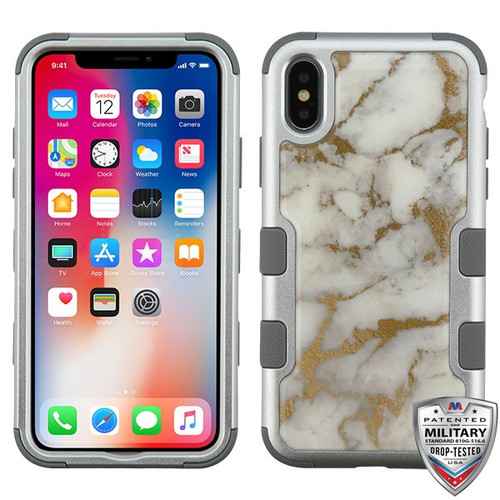MyBat TUFF Krystal Gel Hybrid Protector Cover [Military-Grade Certified] for Apple iPhone XS/X - Gold & White Marble (Silver) / Iron Gray