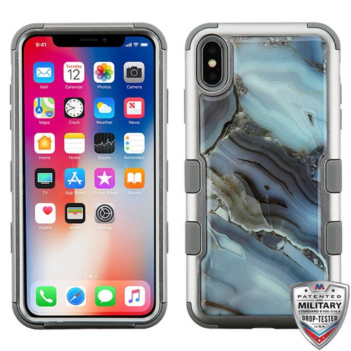 MyBat TUFF Krystal Gel Hybrid Protector Cover [Military-Grade Certified] for Apple iPhone XS/X - Blue Agate Marble (Copper Grey) / Iron Gray