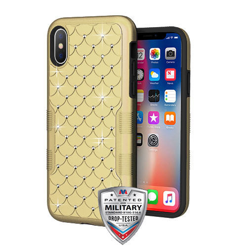 MyBat TUFF Contempo Hybrid Protector Cover for Apple iPhone XS/X - Gold / Black FullStar