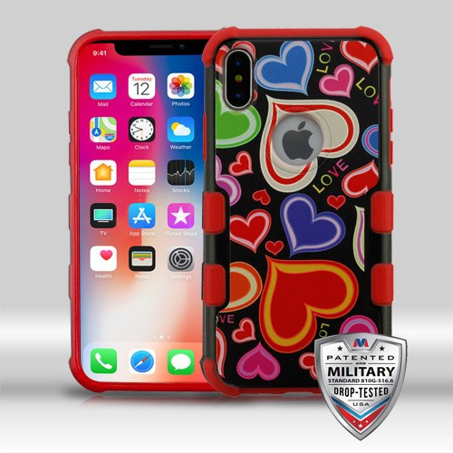 MyBat TUFF Merge Hybrid Protector Cover [Military-Grade Certified] for Apple iPhone XS/X - Colorful Hearts / Red
