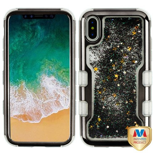 MyBat TUFF Quicksand Glitter Hybrid Protector Cover for Apple iPhone XS/X - Gun Metal Electroplating / Black Sparkles Liquid Flowing
