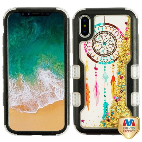 MyBat TUFF Quicksand Glitter Hybrid Protector Cover for Apple iPhone XS/X - Natural Black / Dreamcatcher & Gold Sparkles Liquid Flowing