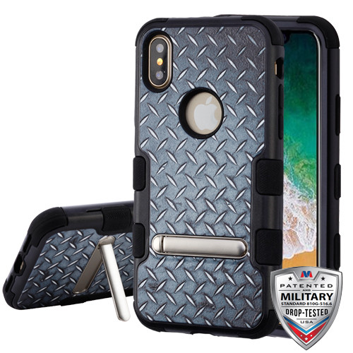 MyBat TUFF Hybrid Protector Cover (with Magnetic Metal Stand)[Military-Grade Certified] for Apple iPhone XS/X - Aluminum Treads / Black