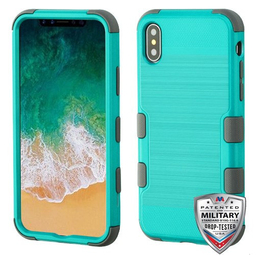 MyBat TUFF Hybrid Protector Cover [Military-Grade Certified] for Apple iPhone XS/X - Teal Green Brushed / Iron Gray