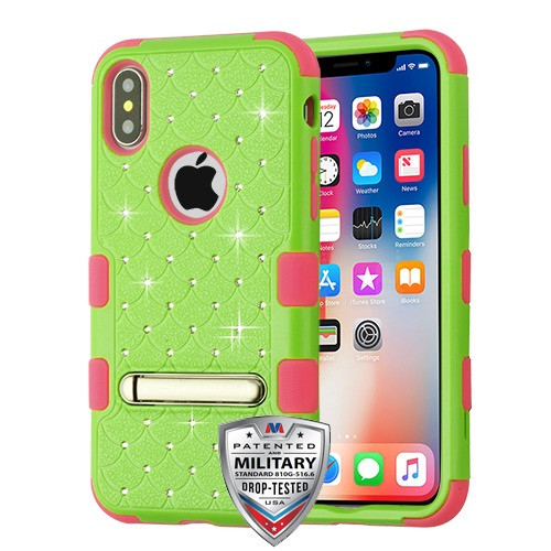 MyBat FullStar TUFF Hybrid Protector Cover (with Magnetic Metal Stand)[Military-Grade Certified] for Apple iPhone XS/X - Natural Pearl Green / Electric Pink