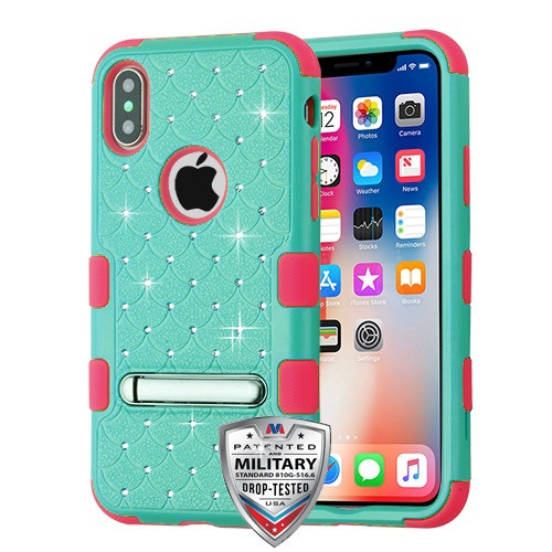 MyBat FullStar TUFF Hybrid Protector Cover (with Magnetic Metal Stand)[Military-Grade Certified] for Apple iPhone XS/X - Natural Teal Green / Electric Pink