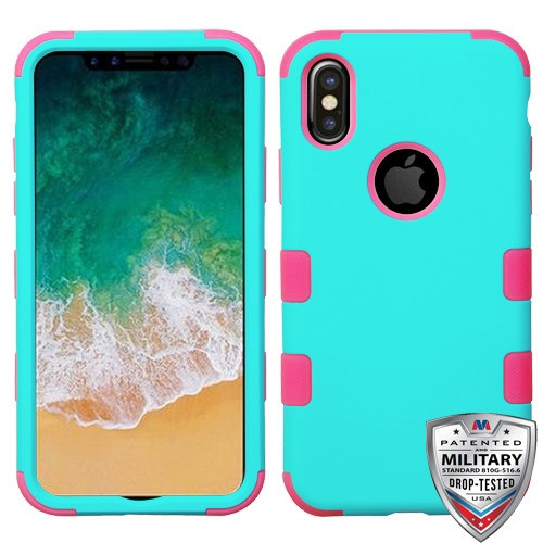 MyBat TUFF Hybrid Protector Cover [Military-Grade Certified] for Apple iPhone XS/X - Rubberized Teal Green / Electric Pink