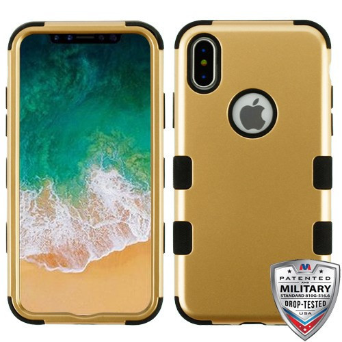 MyBat TUFF Hybrid Protector Cover [Military-Grade Certified] for Apple iPhone XS/X - Gold / Black