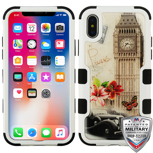 MyBat TUFF Krystal Gel Hybrid Protector Cover [Military-Grade Certified] for Apple iPhone XS/X - Big Ben (Natural Ivory White) / Black