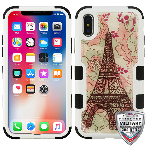 MyBat TUFF Krystal Gel Hybrid Protector Cover [Military-Grade Certified] for Apple iPhone XS/X - Eiffel Tower (Natural Ivory White) / Black