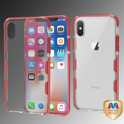 MyBat Bumper Guard Candy Skin Cover for Apple iPhone XS/X - Transparent Clear / Red