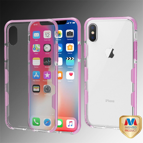 MyBat Bumper Guard Candy Skin Cover for Apple iPhone XS/X - Transparent Clear / Pink