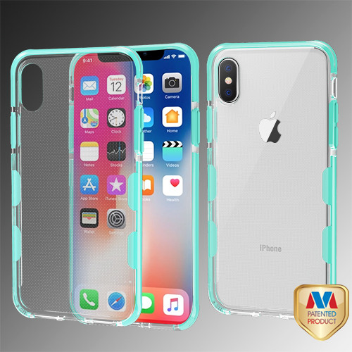 MyBat Bumper Guard Candy Skin Cover for Apple iPhone XS/X - Transparent Clear / Electric Green