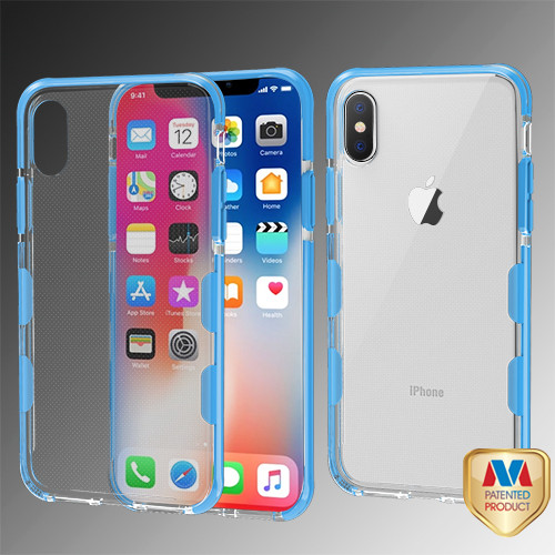 MyBat Bumper Guard Candy Skin Cover for Apple iPhone XS/X - Transparent Clear / Blue