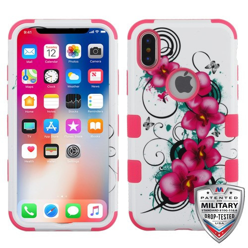 MyBat TUFF Hybrid Protector Cover [Military-Grade Certified] for Apple iPhone XS/X - Morning Petunias / Electric Pink