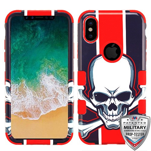 MyBat TUFF Hybrid Protector Cover [Military-Grade Certified] for Apple iPhone XS/X - UnionJackSkull / Red