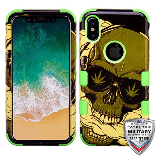 MyBat TUFF Hybrid Protector Cover [Military-Grade Certified] for Apple iPhone XS/X - WeedSkull / Electric Green