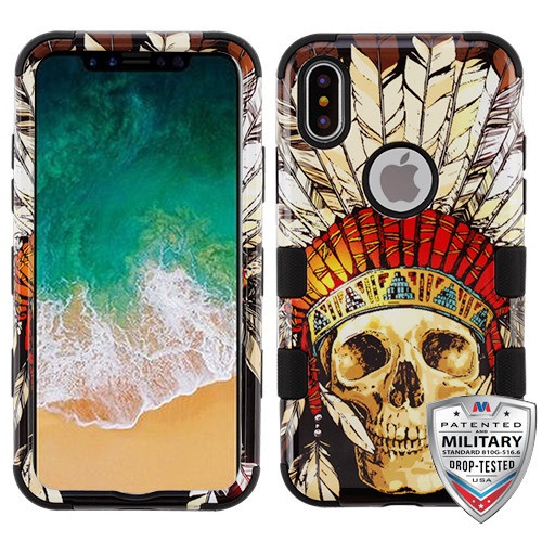 MyBat TUFF Hybrid Protector Cover [Military-Grade Certified] for Apple iPhone XS/X - DeadChiefSkull / Black