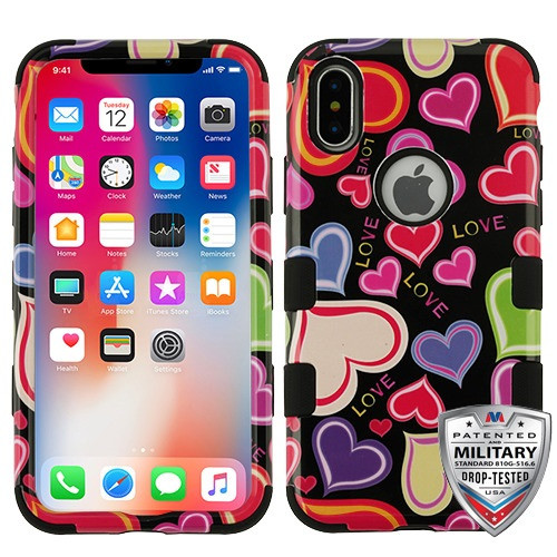 MyBat TUFF Hybrid Protector Cover [Military-Grade Certified] for Apple iPhone XS/X - Colorful Hearts  / Black
