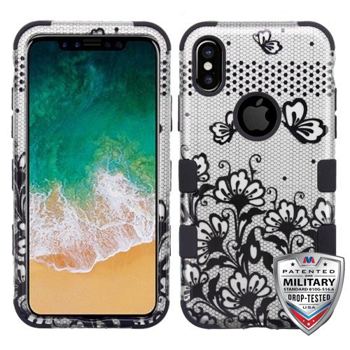 MyBat TUFF Hybrid Protector Cover [Military-Grade Certified] for Apple iPhone XS/X - Black Lace Flowers (2D Silver) / Black