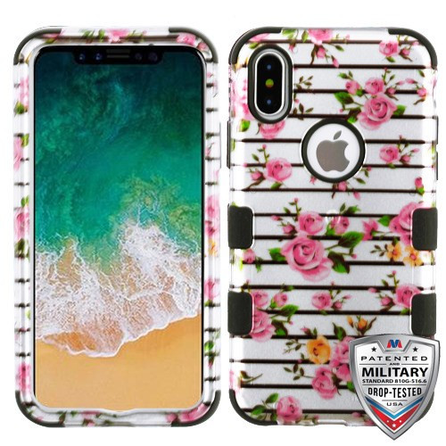 MyBat TUFF Hybrid Protector Cover [Military-Grade Certified] for Apple iPhone XS/X - Pink Fresh Roses (2D Silver) / Black