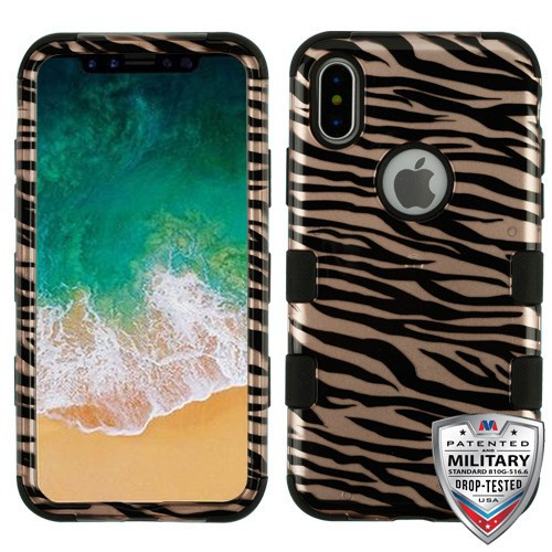 MyBat TUFF Hybrid Protector Cover [Military-Grade Certified] for Apple iPhone XS/X - Zebra Skin / Black (2D Rose Gold) / Black
