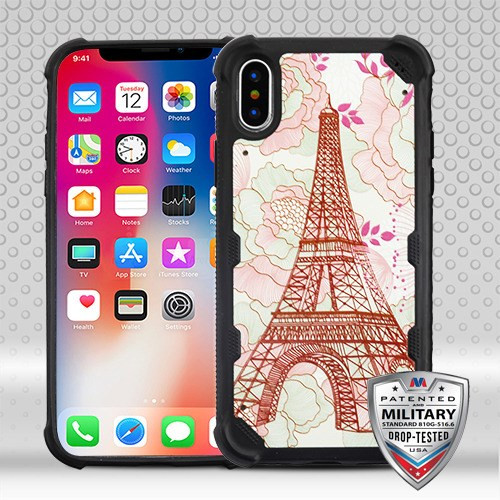 MyBat FreeStyle Challenger Hybrid Protector Cover [Military-Grade Certified] for Apple iPhone XS/X - Eiffel Tower / Black