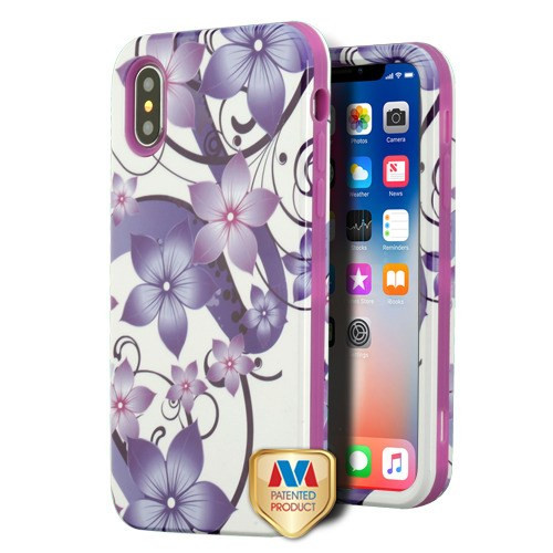 MyBat VERGE Hybrid Protector Cover [New Improved Design] for Apple iPhone XS/X - Purple Hibiscus Flower Romance / Electric Purple