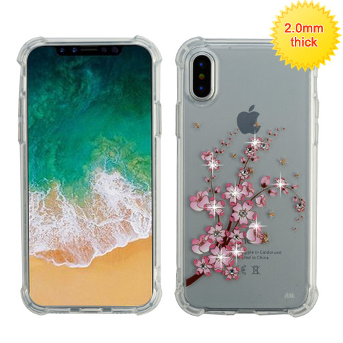 MyBat Klarity Premium Candy Skin Cover (with Diamonds) for Apple iPhone XS/X - Spring Flowers Glassy