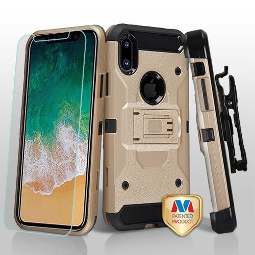MyBat 3-in-1 Kinetic Hybrid Protector Cover Combo (with Black Holster)(Tempered Glass Screen Protector) for Apple iPhone XS/X - Gold / Black