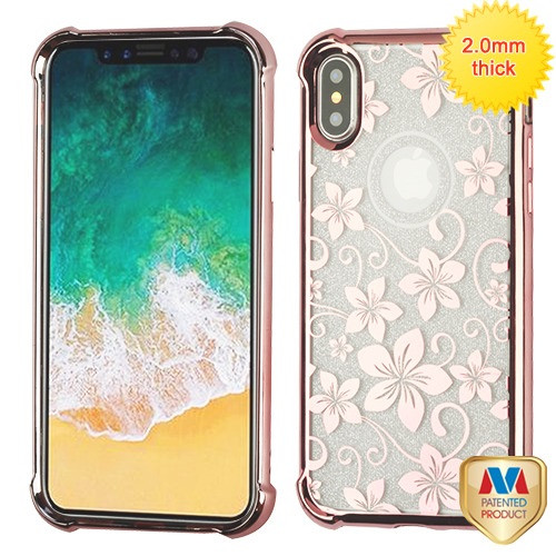 MyBat Sheer Glitter Premium Candy Skin Cover for Apple iPhone XS/X - Rose Gold Electroplating / Hibiscus Flower