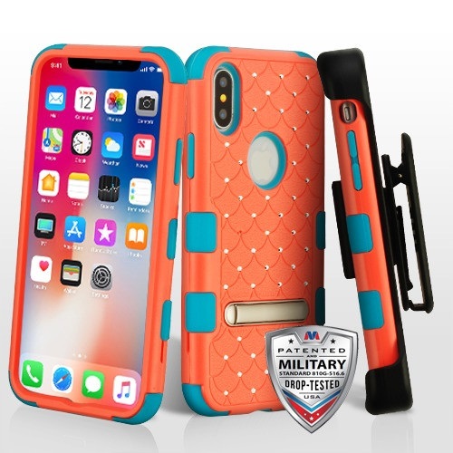 MyBat TUFF Hybrid Protector Case (with Magnetic Metal Stand)(with Diamonds)[Military-Grade Certified](with Black Horizontal Holster) for Apple iPhone XS/X - Natural Baby Red / Tropical Teal