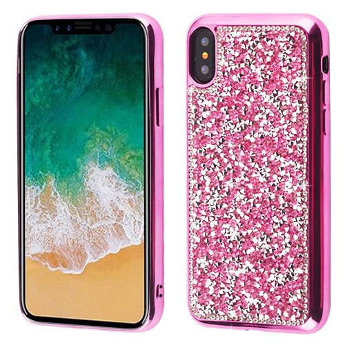 MyBat Candy Skin Cover (with Electroplated Hot Pink Frame) for Apple iPhone XS/X - Hot Pink Mini Crystals Rhinestones Desire