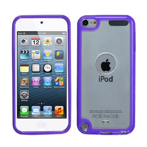 MyBat Gummy Cover for Apple iPod touch (5th generation) - Transparent Clear / Solid Purple