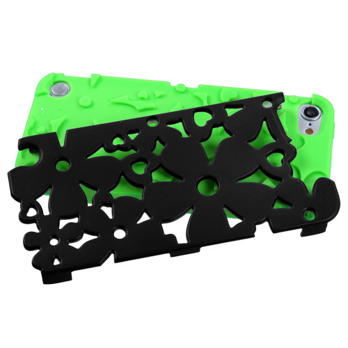 MyBat Flowerpower Hybrid Protector Cover for Apple iPod touch (5th generation) - Rubberized Black / Electric Green