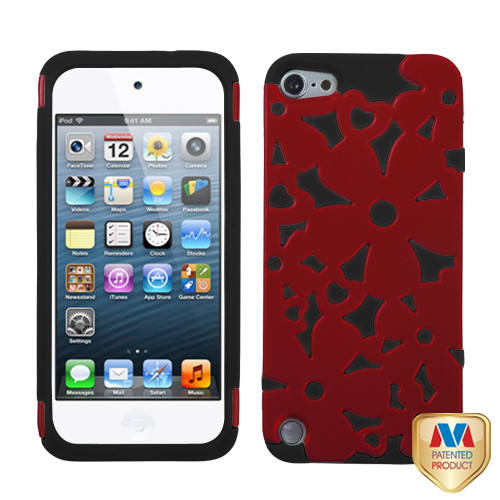 MyBat Flowerpower Hybrid Protector Cover for Apple iPod touch (5th generation) - Titanium Red / Black