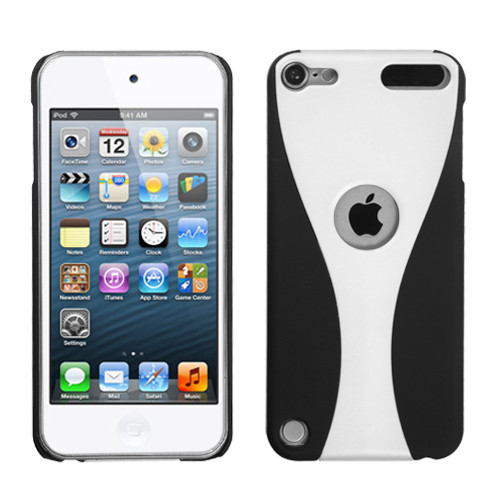 MyBat Wave Back Protector Cover (Rubberized) for Apple iPod touch (5th generation) - White / Black