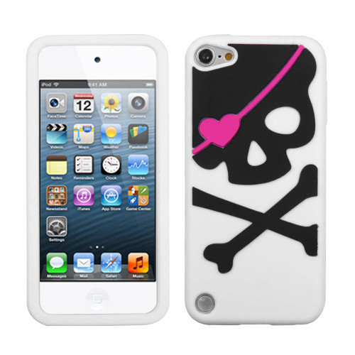 MyBat Pastel Skin Cover for Apple iPod touch (5th generation) - Big Skull / White