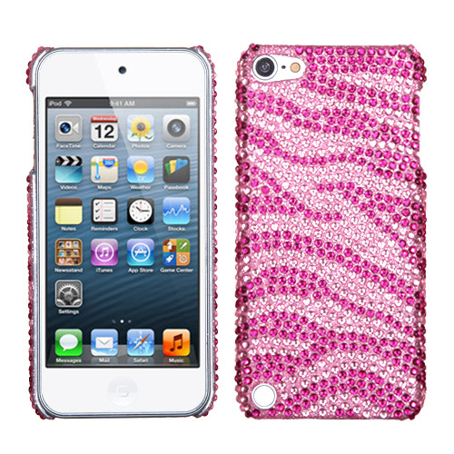 MyBat Diamante Back Protector Cover for Apple iPod touch (5th generation) - Zebra Skin (Pink / Hot Pink)