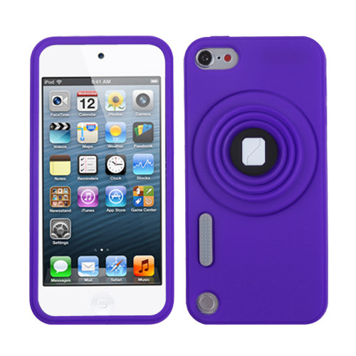 MyBat Camera Style Stand Pastel Skin Cover (with Lanyard) for Apple iPod touch (5th generation) - Purple